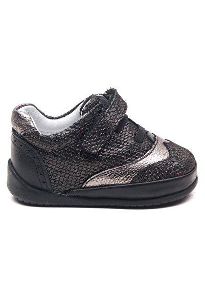 Minipicco Unisex Bebek Siyah Deri Ortopedik Ilk Adım Ayakkabı
