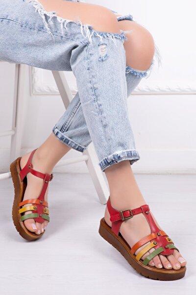 Deripabuc Hakiki Deri Kırmızı Multi Kadın Deri Sandalet Dp-0092