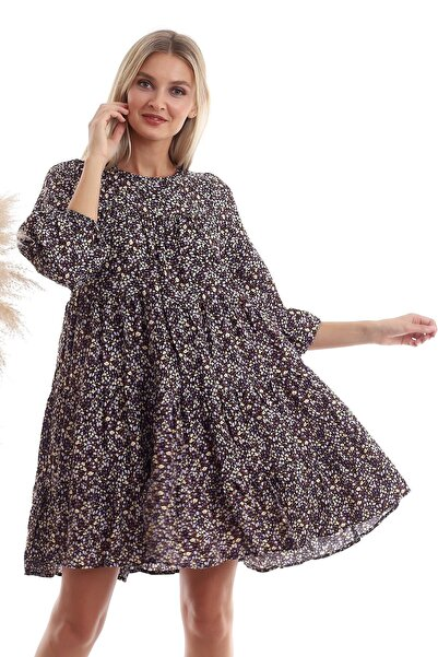 Cotton Mood 20333362 Dok.viskon Desenli Uz.kol Salash Elbise Sıyah Lıla