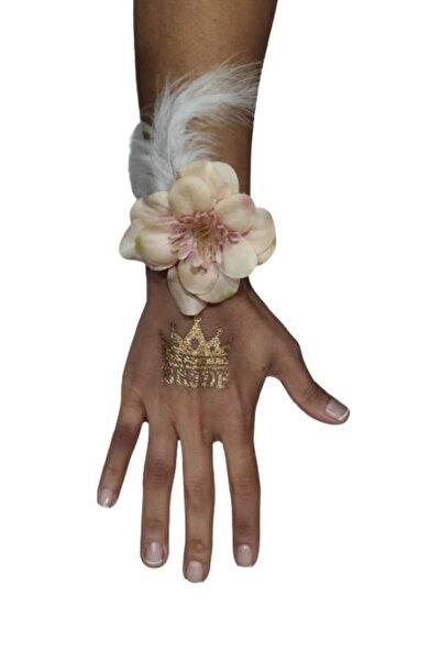 PEMBE MAVİ SÜS Nedime Bileklik 8 Li - Bride Bileklik- Çiçekli Bileklik Somon