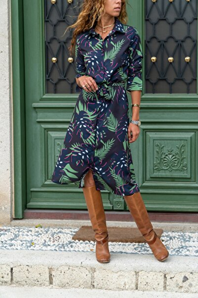 Güneşkızı Kadın Yeşil Yaprak Desenli Gömlek Elbise Gk-bst30kt4011-1390