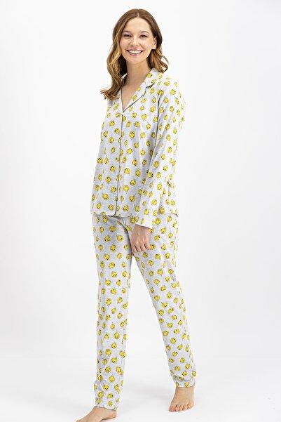 TWEETY Lisanslı Gri Kadın Düğmeli Gömlek Pijama Takımı