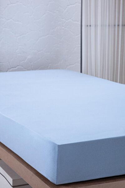 SUEDA %100 Pamuk / 160x200 Cm Lastikli Mavi Çarşaf / Çift Kişilik Yatak Çarşafı