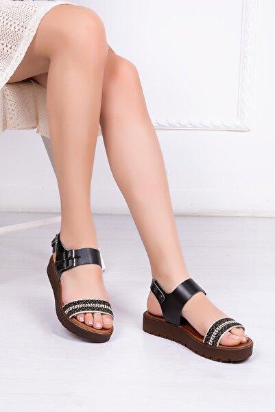 Deripabuc Hakiki Deri Siyah Kadın Deri Sandalet Rma-3138