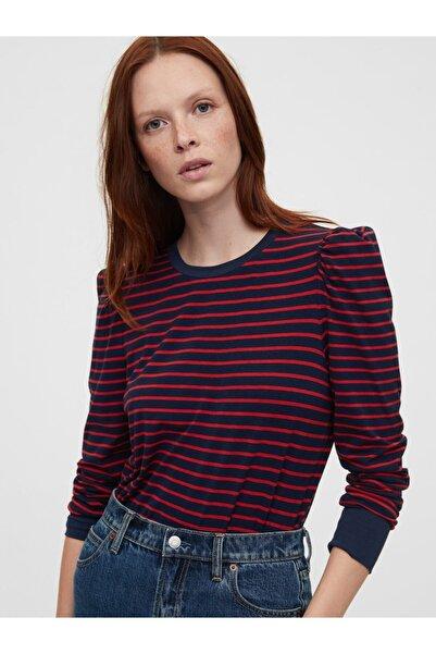 GAP Kadın Lacivert Uzun Kollu Çizgili T-shirt