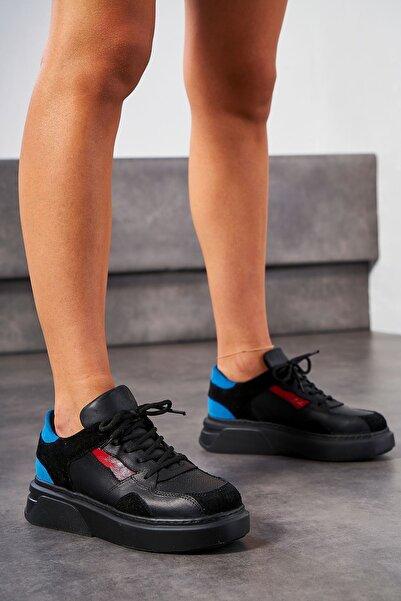 Louis Cardy Sinis Siyah Hakiki Deri Kadın Sneakers