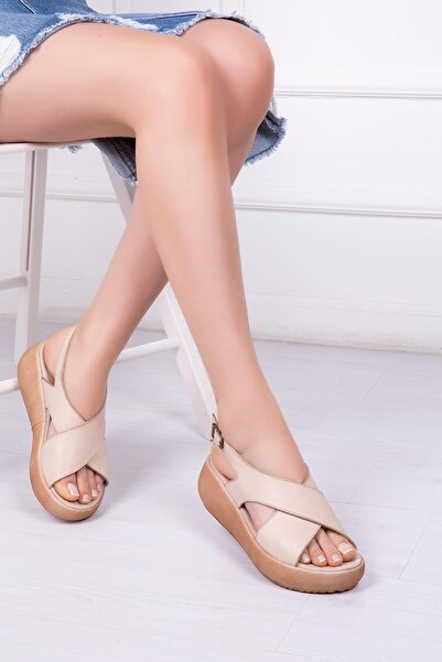 Deripabuc Hakiki Deri Bej Kadın Deri Sandalet Dp-20669