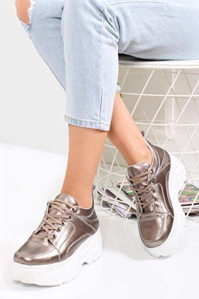 Deripabuc Hakiki Deri Bronz Kadın Deri Sneaker Trc-bf