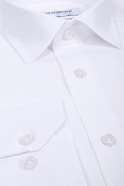 Ottomoda Cepli Uzun Kollu %100 Pamuk Gabardin Beyaz Klasik Gömlek