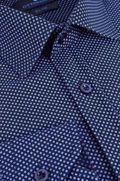 Ottomoda Uzun Kollu Desenli Erkek Gömlek Marine Hb