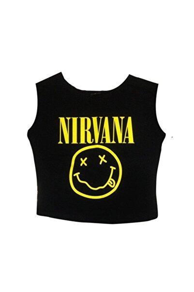 fame-stoned Nırvana Baskılı Göbek Üstü-yarım T-shirt