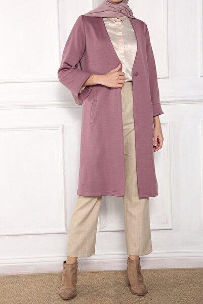 ALLDAY Kadın Pembe Düğmeli Uzun Tesettür Ceket
