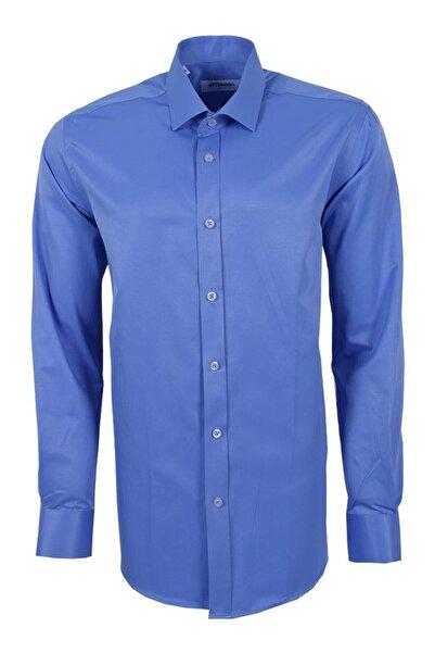 Ottomoda Uzun Kollu Klasik Erkek Gömlek Mavi-01