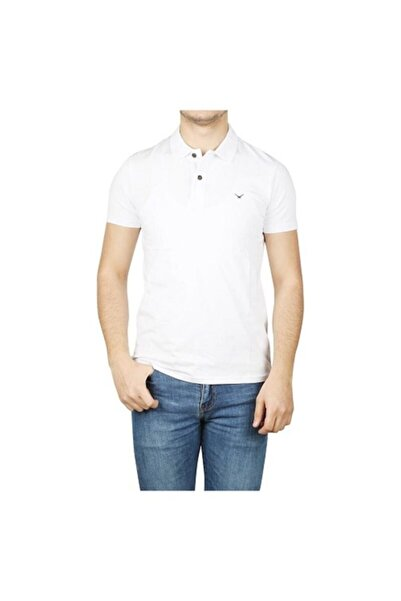 Cazador Erkek Likralı Polo Yaka Beyaz Renk Tişört Caz 4638