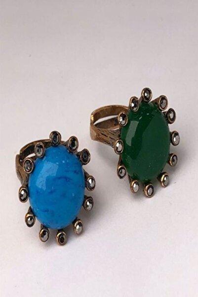 CeSo Accessorie'S 2'li Set Turkuaz Ve Yeşil Akik Taşlı Bronz Yüzükler. Her Parmak Ölçüsüne Göre Ayarlanabilir