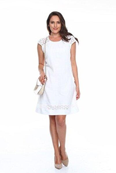 Güpürlü Büyük Beden Elbise Beyaz