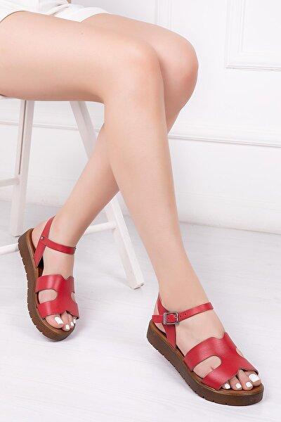 Deripabuc Hakiki Deri Kırmızı Kadın Deri Sandalet Dp-1015