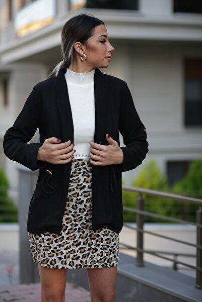 ZİNDİ Kadın Kadife Beli Büzgülü Ceket Siyah