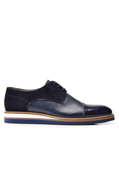 Nevzat Onay Hakiki Deri Lacivert Günlük Bağcıklı Erkek Ayakkabı -11838-