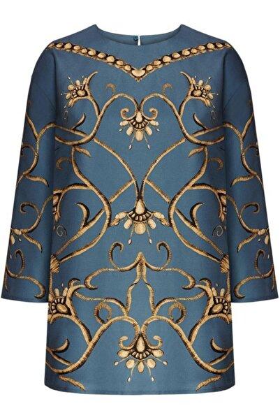 Faberlic Mavi Ampir Desenli Bluz 40 Beden