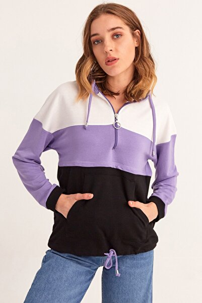 Fulla Moda Kapüşonlu Garnili Sweatshirt