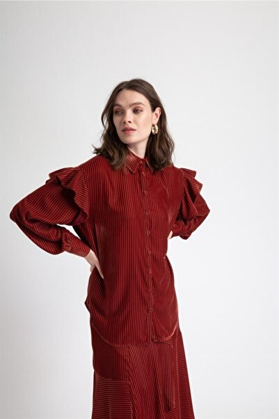 rue. Murdum Fırfır Detaylı Kadife Gömlek