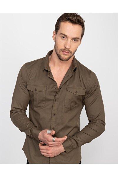 Tudors Slim Fit Likralı Saten Erkek Gömlek