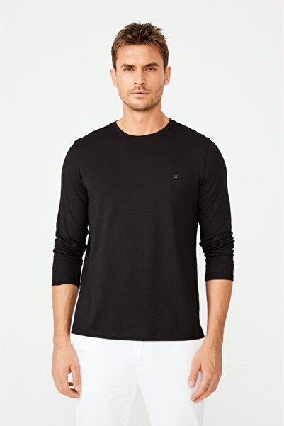 Avva Erkek Siyah Bisiklet Yaka Düz T-shirt A02y1076