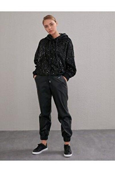 Beli Lastikli Spor Kesim Deri Pantolon Siyah A20 19115