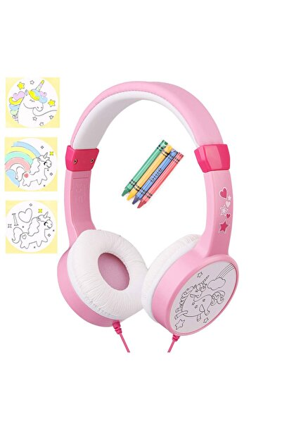 Snopy Pembe Çift Kablo Girişli Çocuk Kulaklığı ( Paket Içersinden 4 Adet Pastel Kalem Boya Çıkıyor )