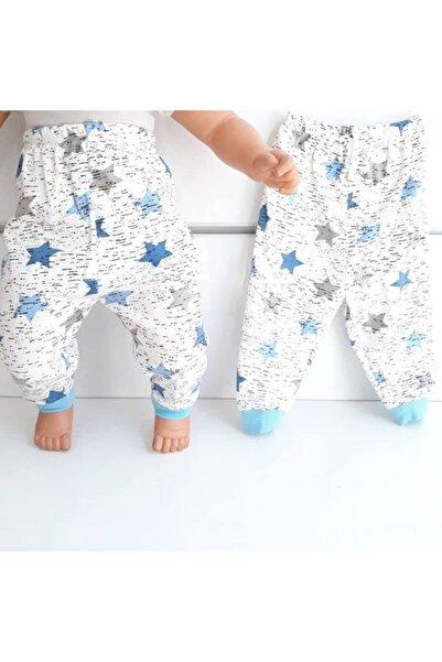 bebegen Yıldızlı Mavi Tek Alt Bebek Penye Pijama
