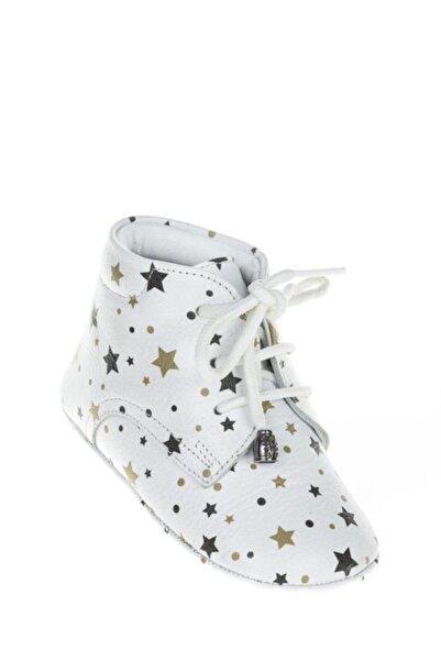WSTARK Hakiki Deri Yıldızlı Beyaz Dört Mevsim Kız Erkek Bebek Makosen Patik Ilk Adım Ayakkabısı