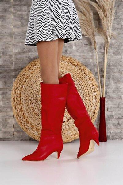 ShoeTek 1287 Kadın Çizme Kırmız Cilt