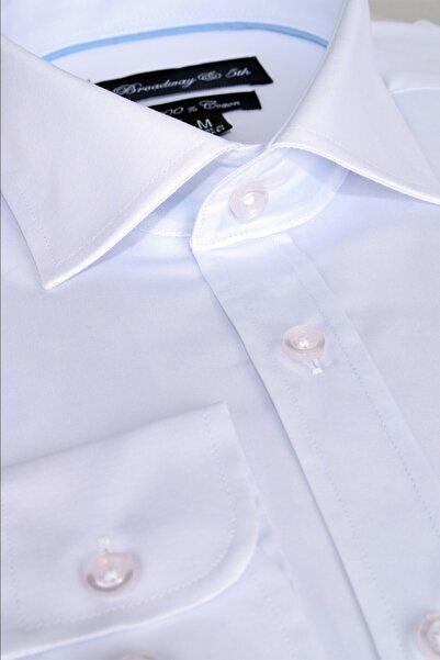 Ottomoda Broadway Uzun Kollu Klasik Erkek Gömlek Beyaz