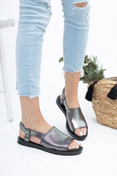 Deripabuc Hakiki Deri Platin Kadın Deri Sandalet Dp26-0597