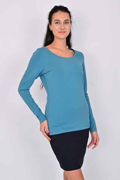Letoile Pamuk Uzun Kollu Kadın T-shirt Mavi
