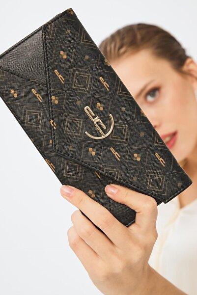 Deri Company Kadın Basic Cüzdan Monogram Desenli Logolu Siyah Taba (8016st) 213012