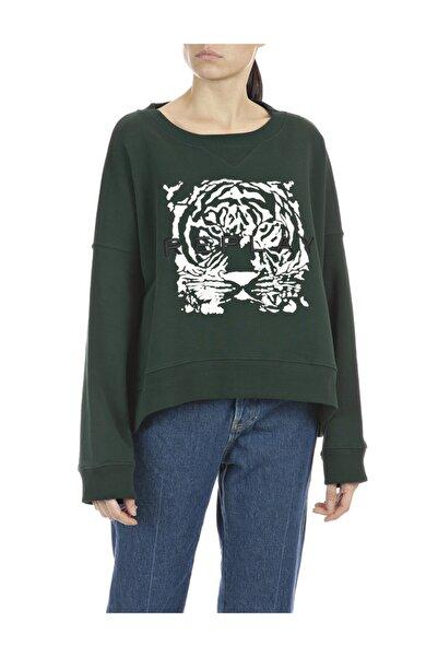 Replay Kadın Haki Pamuklu Sweatshirt