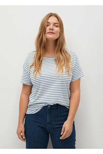 Violeta by MANGO Kadın Beyaz Baskılı Çizgili Tişört
