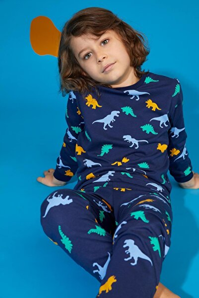 DeFacto Erkek Çocuk Lacivert Dinazor Baskılı Pijama Takım