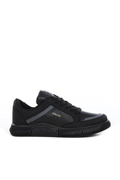 Strong Erkek  Siyah Spor Ayakkabı Sneaker - Hafif Ortopedik Ve Yumuşak Taban