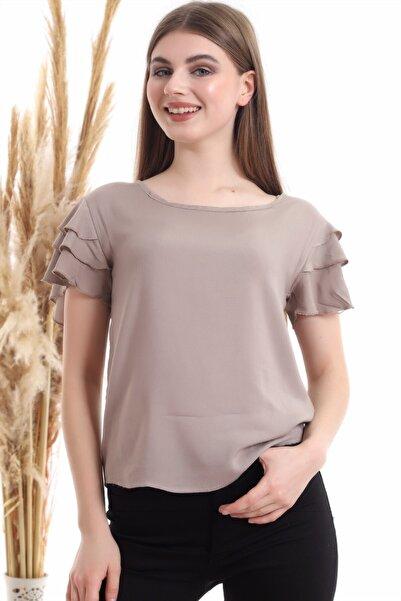 Cotton Mood Kadın Vızon Fırfırlı Kısa Kol Bluz