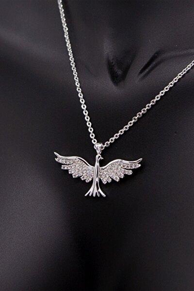 Zirconium Kadın Zümrüdü Anka Kuşu Kolye Zirkon Taşlı Gümüş Kaplama