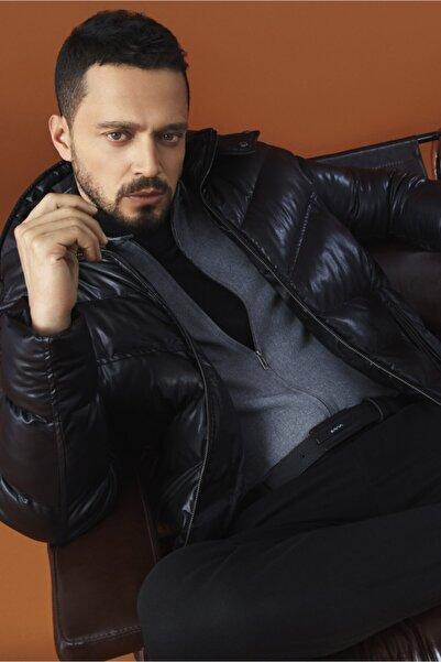 Avva Erkek Gri Düz Klasik Yaka Relaxed Fit Fermuarlı Flanel Gömlek A02y2194