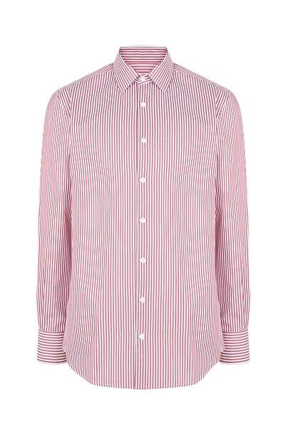 Hemington Kırmızı Beyaz Çizgili Pamuk Gömlek