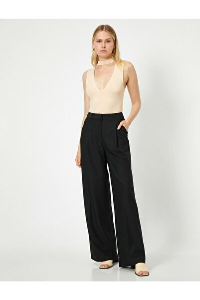 Koton Kadın Siyah Geniş Paça Pantolon
