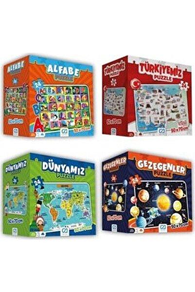 4'lü Süper Yer Puzzle Seti(Türkiye-dünyamız-gezegenler-alfabe)