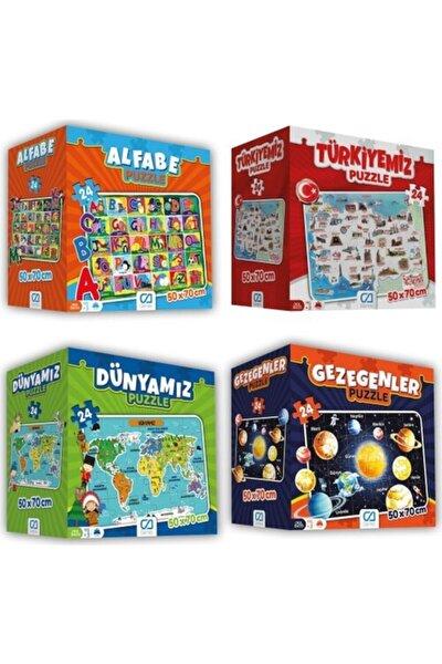 CA Games 4'lü Süper Yer Puzzle Seti(Türkiye-dünyamız-gezegenler-alfabe)