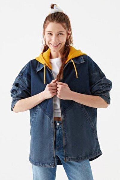 Kadın Kapüşonlu İndigo Ceket 110815-10241