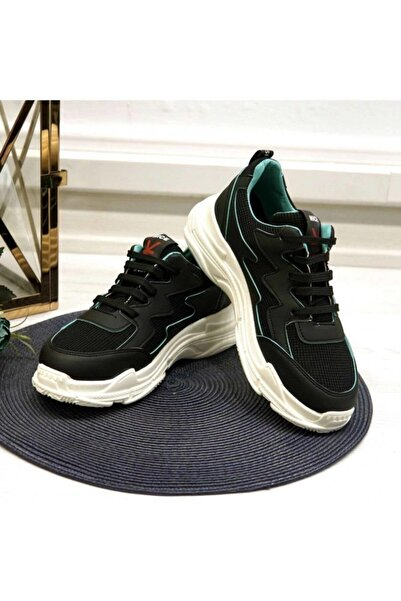 NİCE Kadın Siyah Yeşil Spor Ayakkabı 20y-1901